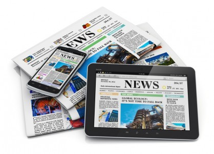Electronic and paper media concept